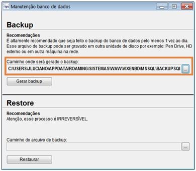 Gerar backup do banco de dados pelo sistema Volpe.