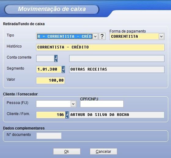 Recebimento de clientes correntista pelo sistema Vixen.