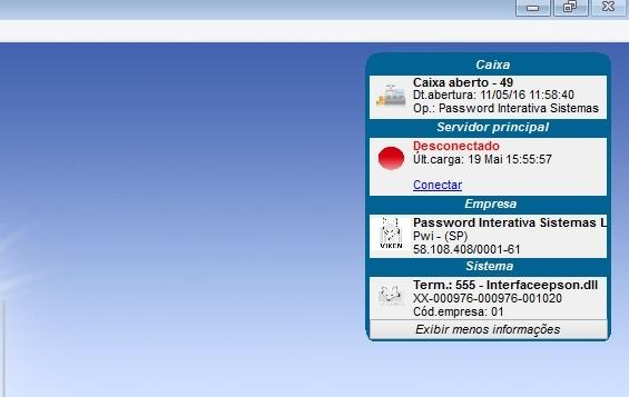 Reconexão do sistema Vixen PDV com o banco de dados.