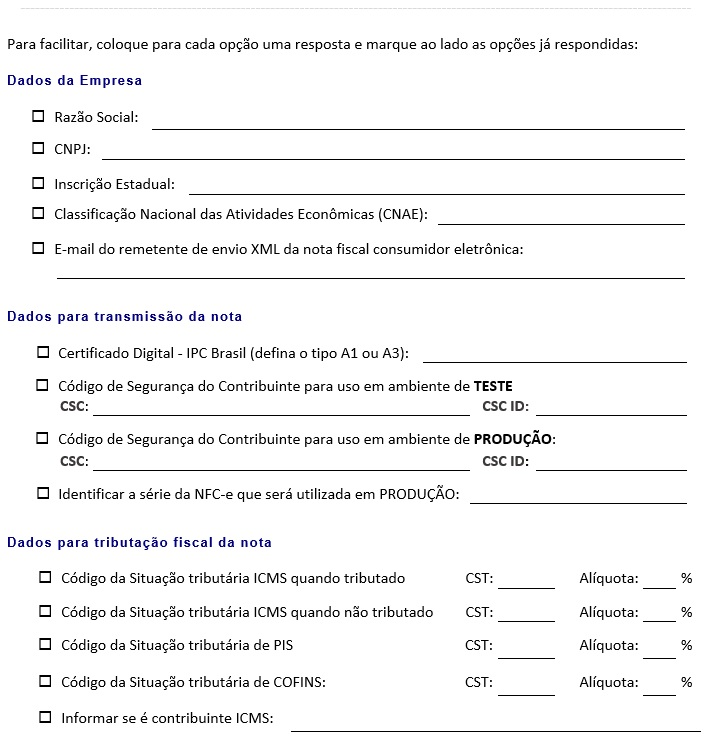 Requisitos fiscais para o uso do modulo de NFC-e do sistema Vixen.