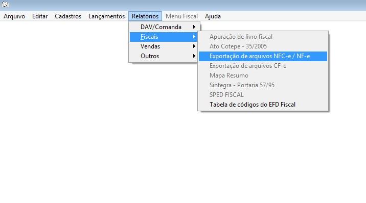 Exportação de arquivos XML