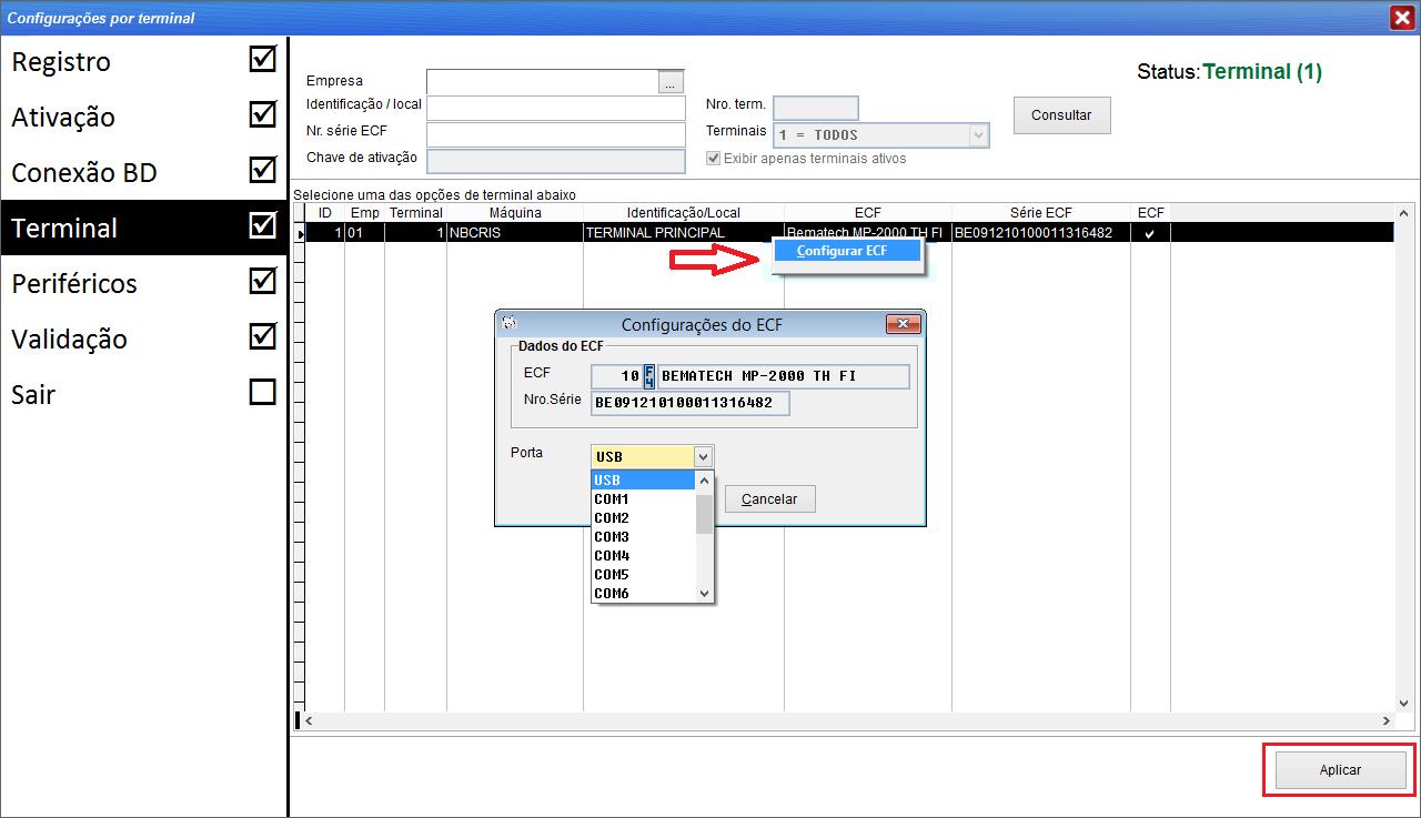 Instalação de ECF com driver USB.