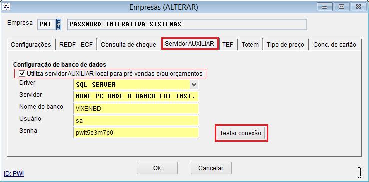 Configuração de servidor auxiliar.