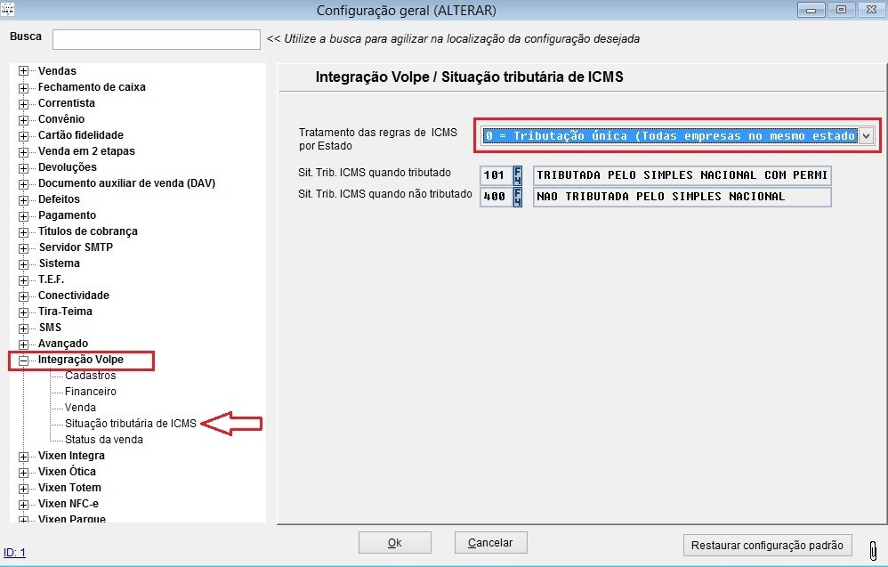 Configuração de ICMS para operações de vendas