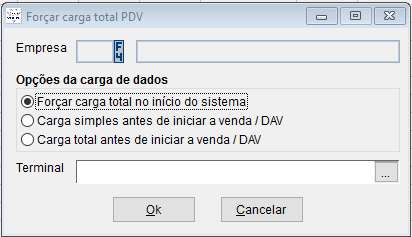 configuração por empresa, carga de dados.