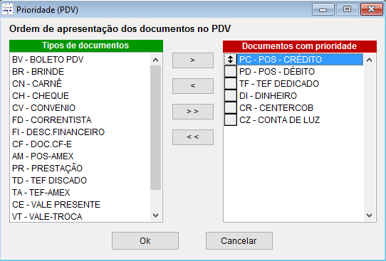 Priorizar tipos de documentos no sistema Volpe.