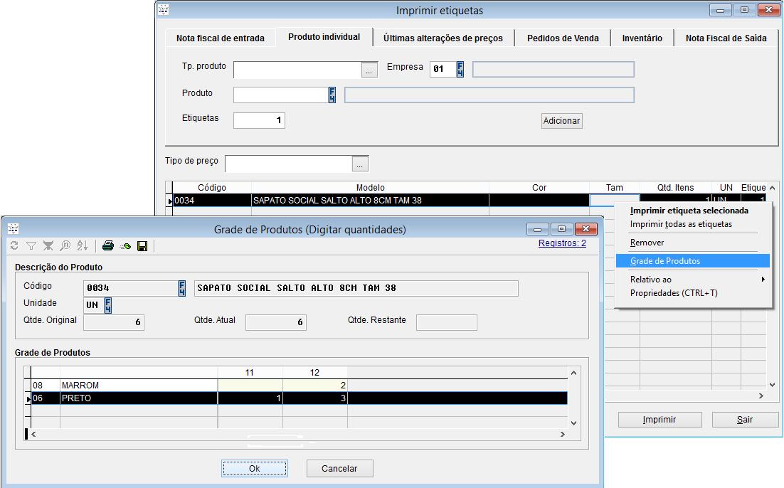 Realização da impressão de etiquetas pelo sistema Volpe.