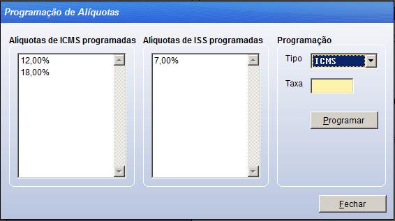 Programar alíquotas no ecf sistema Vixen.