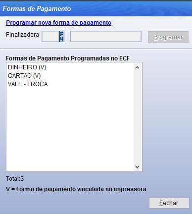 Programar meios de pagamento na impressora fiscal.