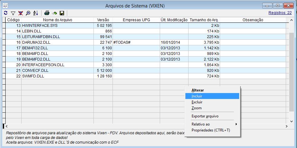 Atualizações de arquivos e versões do sistema Vixen.