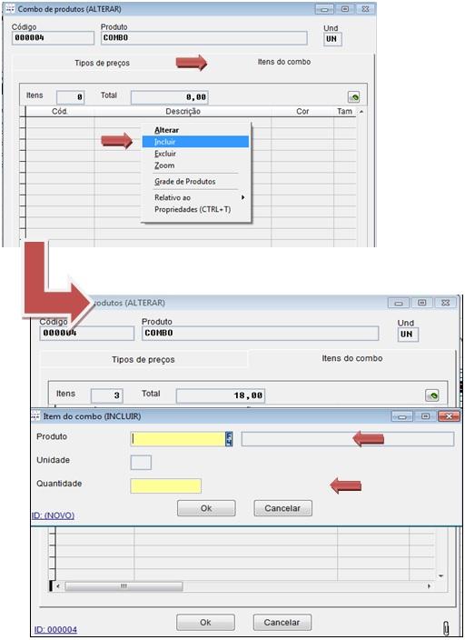 Configuração do combo de produtos pelo sistema Volpe para ser aplicado no Vixen.