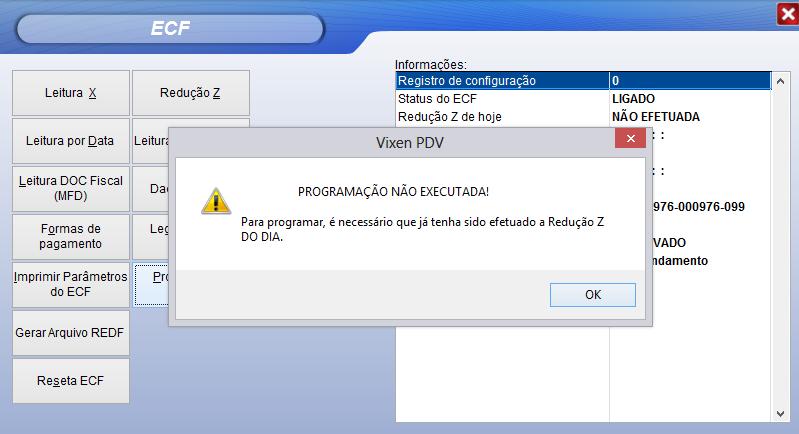 Realizar programação padrão da impressora fiscal pelo sistema Vixen.