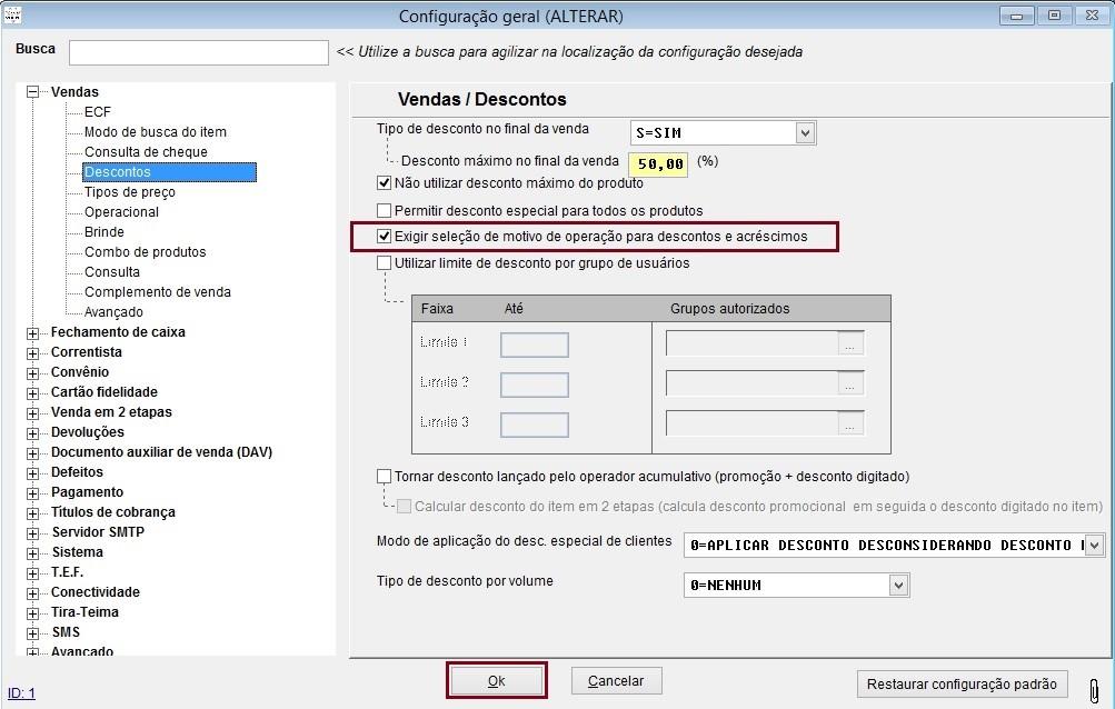 Configurar motivos de operações pelo sistema Volpe para usar no Vixen.