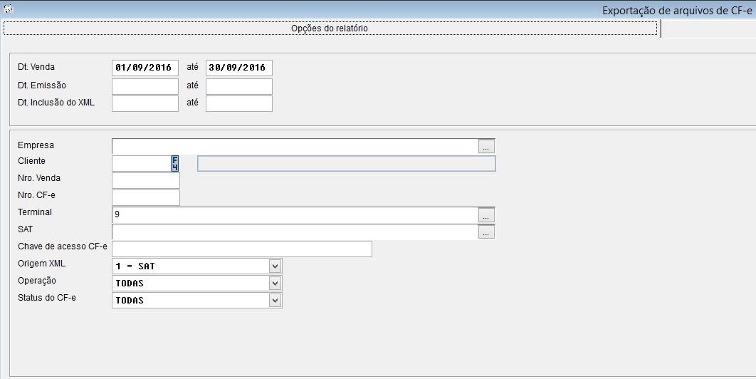 Exportação de arquivos XML pelo sistema Vixen e Volpe.