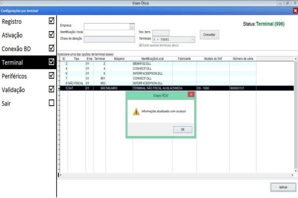 Ativação e configuração do equipamento Sat no sistema Vixen.