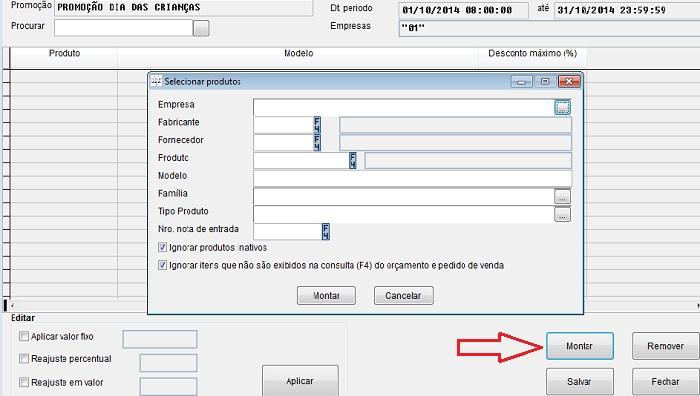Configuração do modulo de promoções no sistema Volpe lite.
