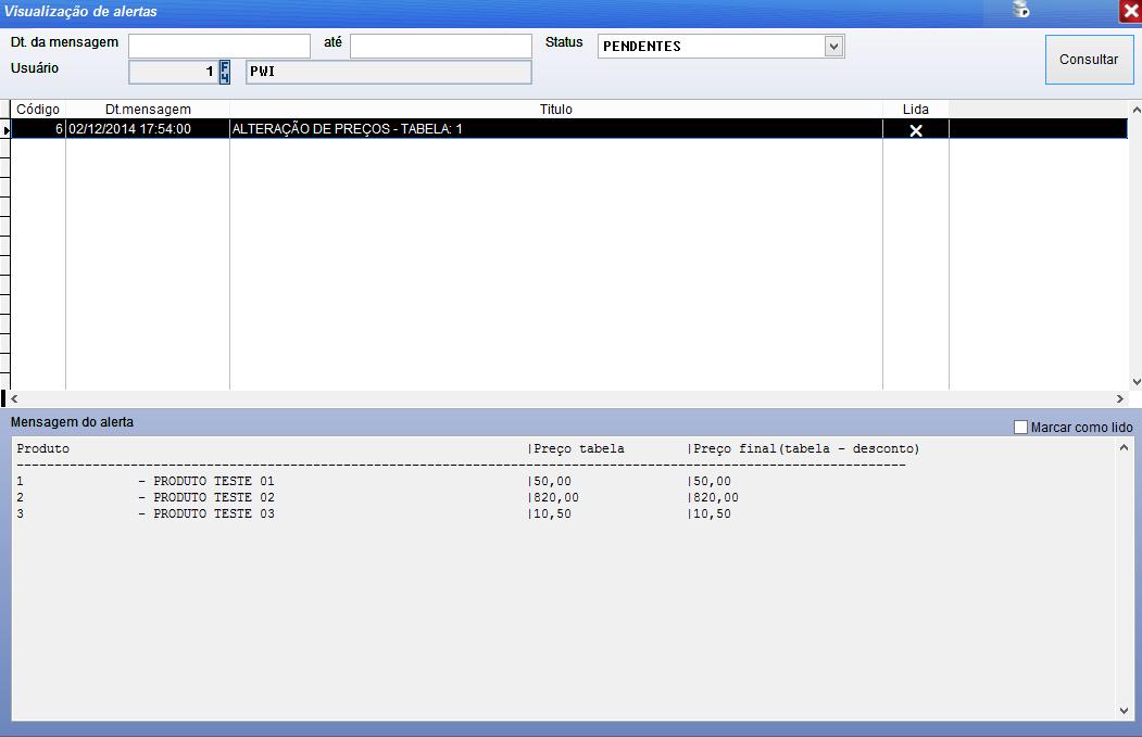 Configurar alertas PDV no sistema Volpe para usar no Vixen PDV.