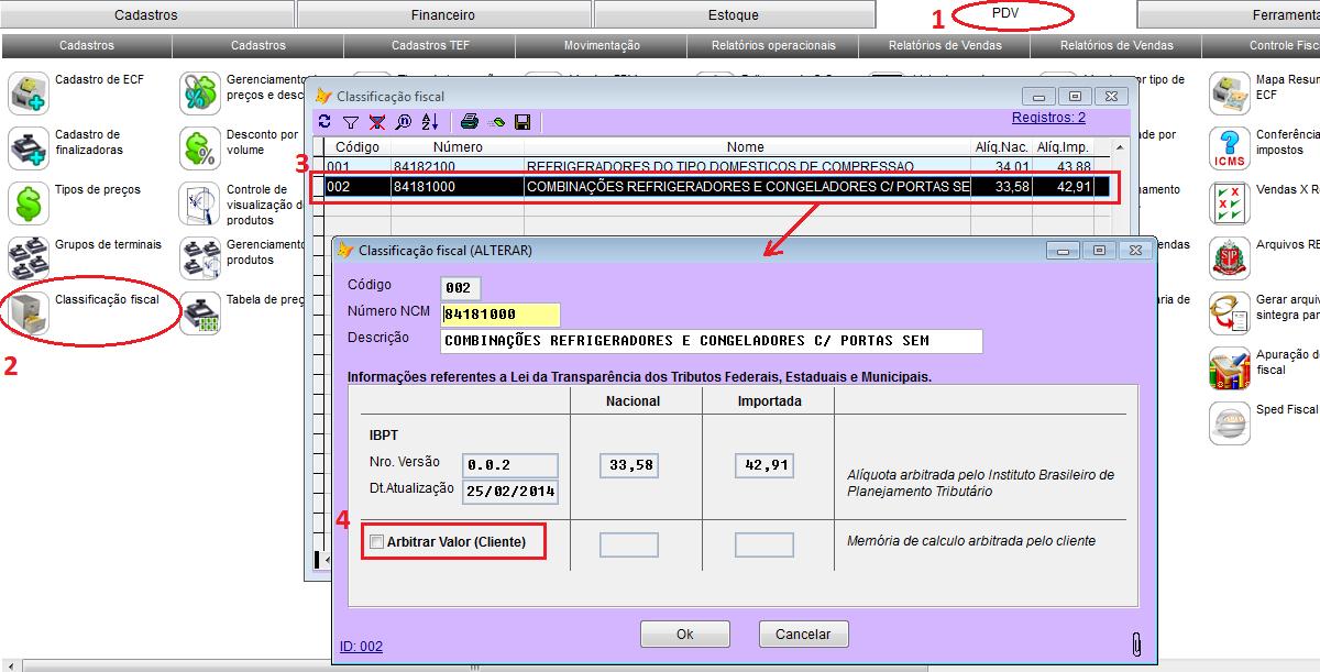 Configuração da lei de transparência fiscal no sistema Vixen PDV.