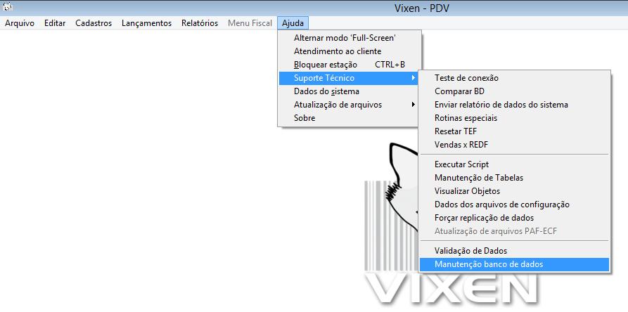 Realizar backup do banco de dados pelo sistema Vixen e o Volpe.