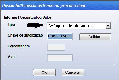 Configurar cupom de desconto no sistema Volpe para usar no Vixen PDV.