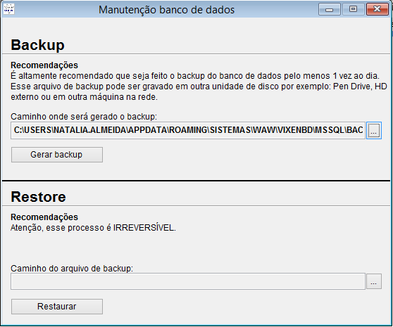Backup e restauração do banco de dados do sistema Vixen PDV.