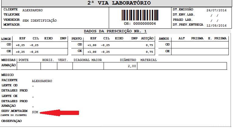 Utilizando o novo layout de prescrição no sistema Vixen Ótica PDV.